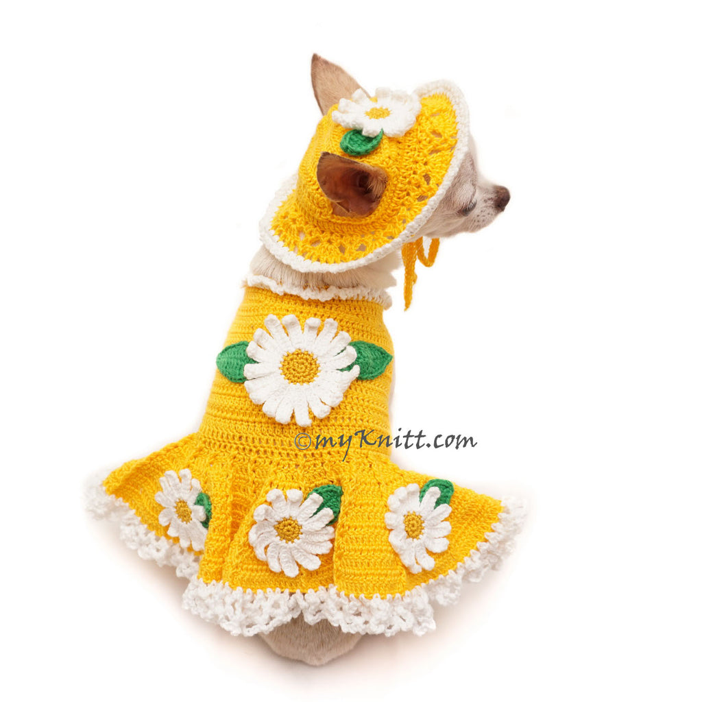 Cute Flower Dog Dress with Matching Sun Hat in Bright Yellow Color DF103