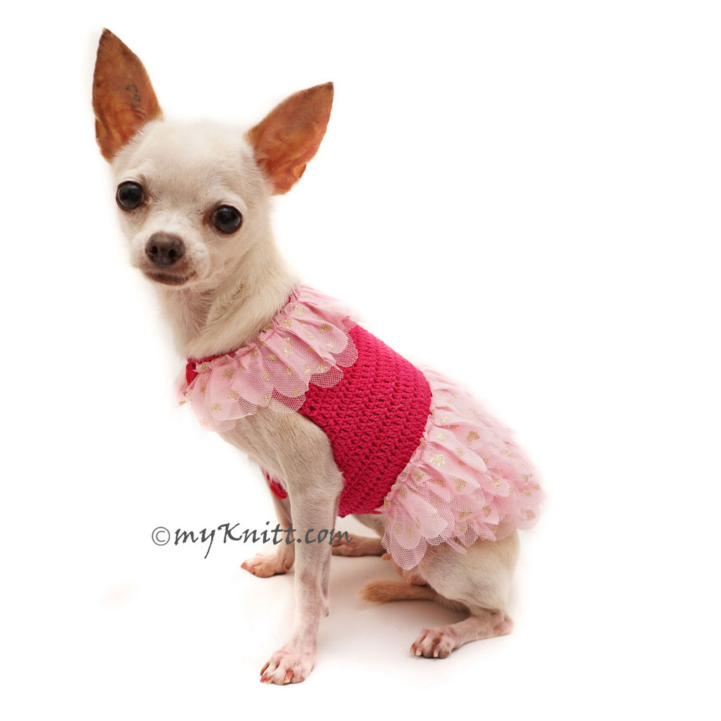 Pink Ballerina Dog Dress with Gold Tutu Glittery Handmade Crochet DF104