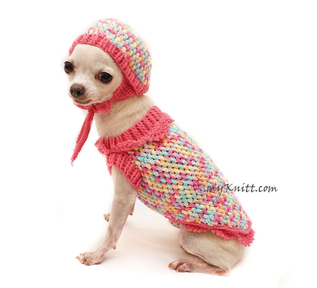 Cute Pink Dog Winter Clothes, Rainbow Dog Sweaters with Matching Dog Hats DF106 Myknitt