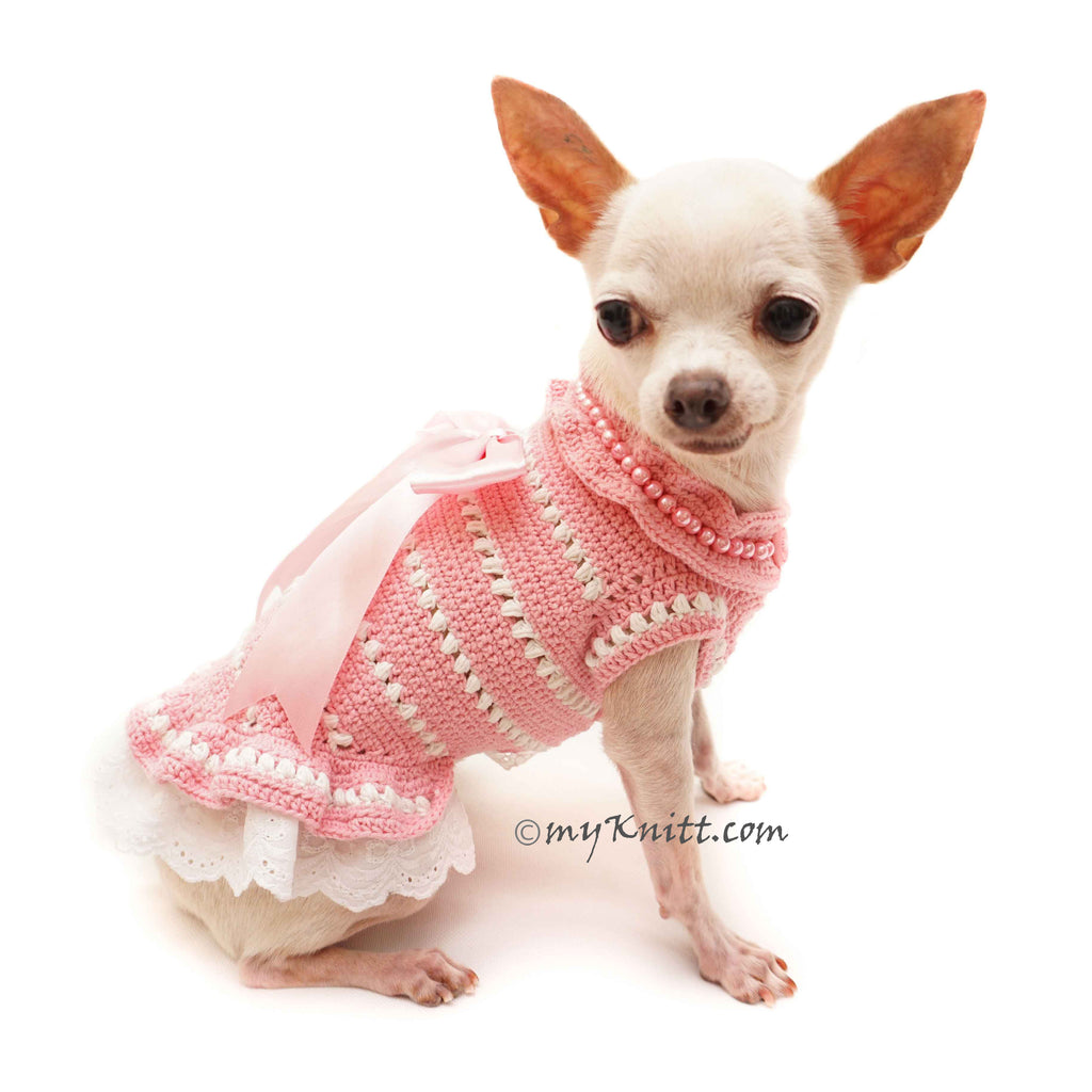 Deep Pink Dog Costume Party, Dog Dresses with Lace and Pearls DF107