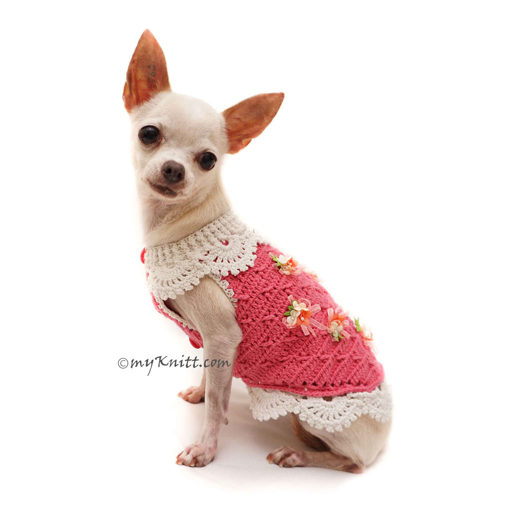 Crochet Lace Dress Deep Pink Chihuahua Clothes DF110