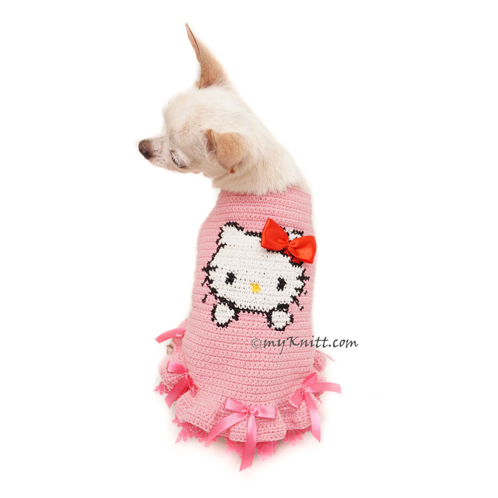 Hello Kitty Girl Dog Dresses, Crochet Dog Sweater DF114