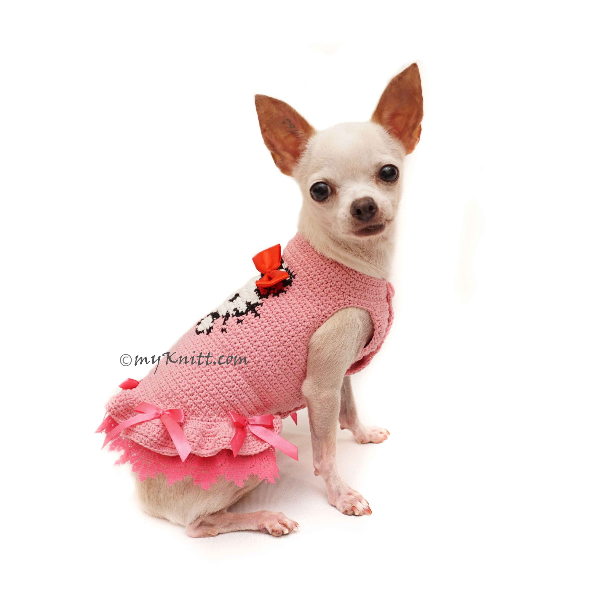 d6462bcab759 Hello Kitty Girl Dog Dresses, Crochet Dog Sweater DF114 - Myknitt ...