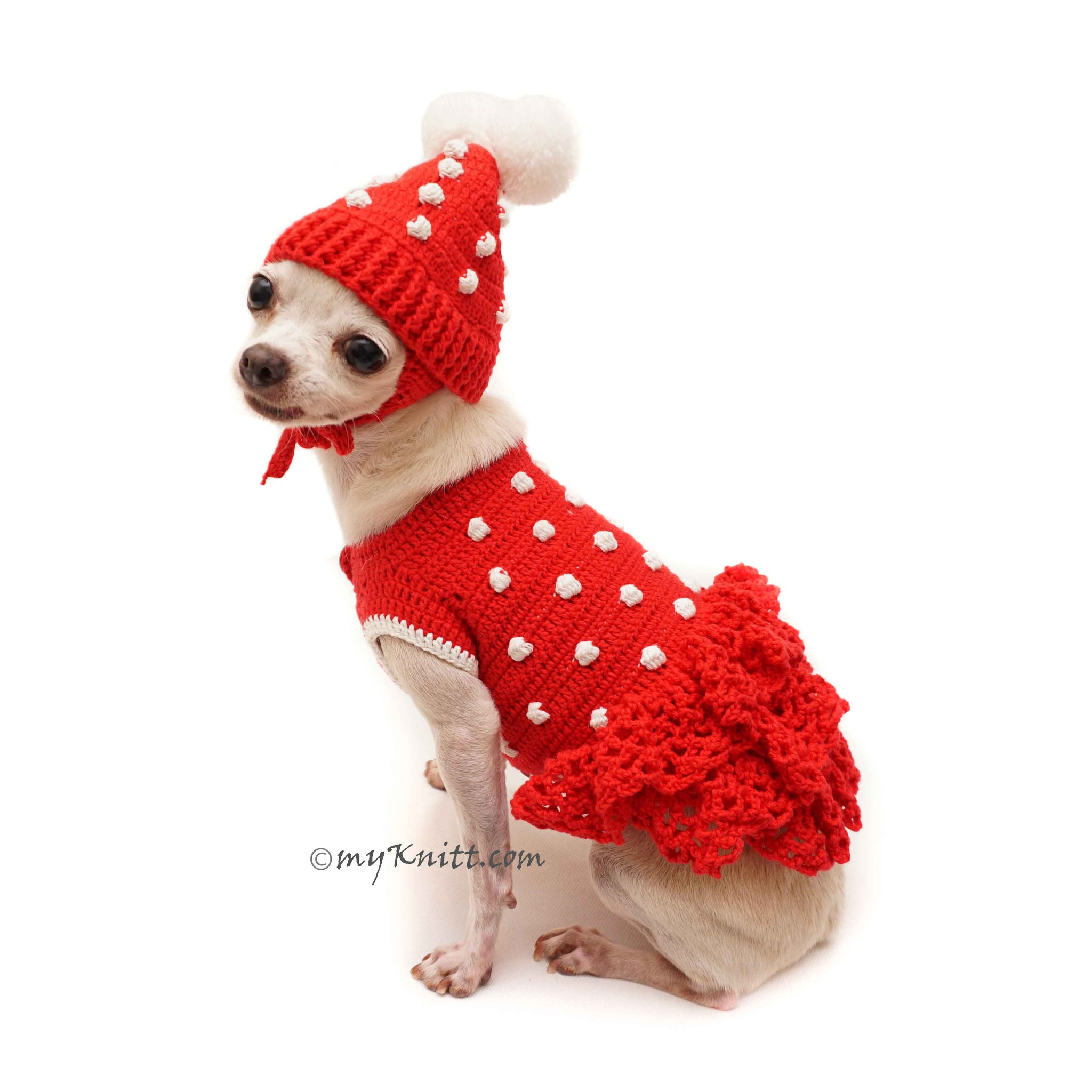 Red Dog Dress Crochet Dog Hat Chihuahua Winter Clothes Df115 By