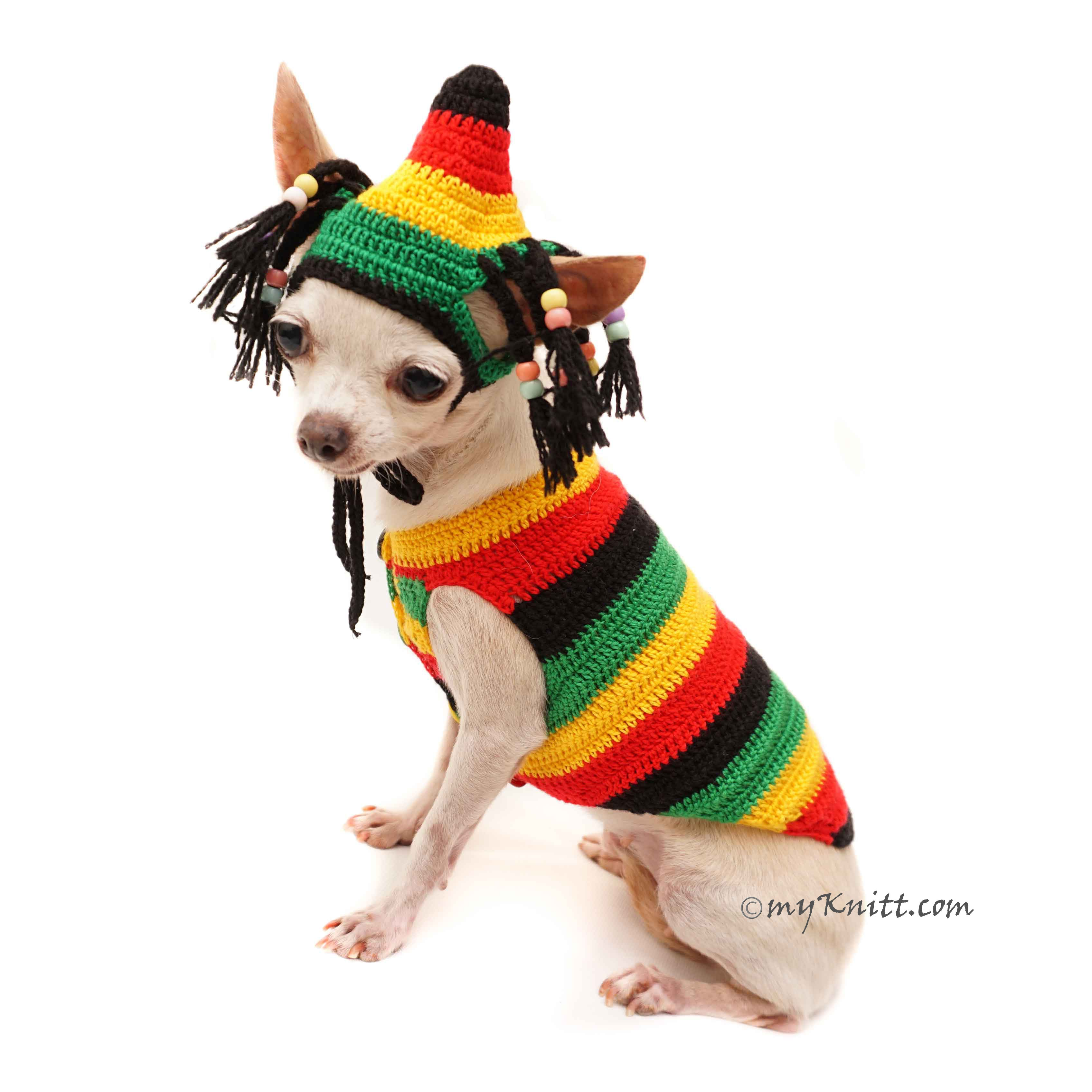 Bob Marley Dog Costume, Rasta Hat, Crochet Dog Hat DF117 by Myknitt