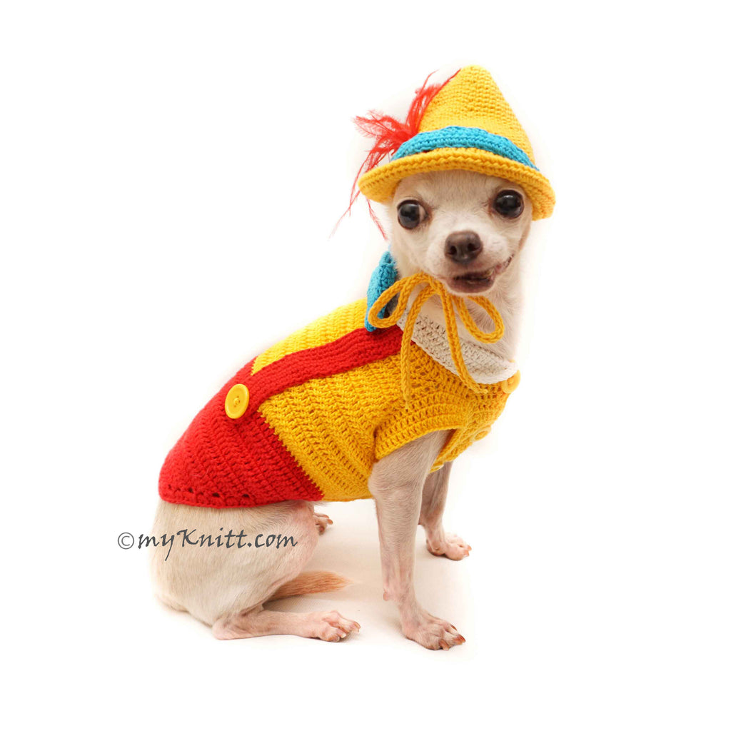 Pinocchio Dog Costumes, Dog Halloween Costumes, Crochet Dog Hat DF122