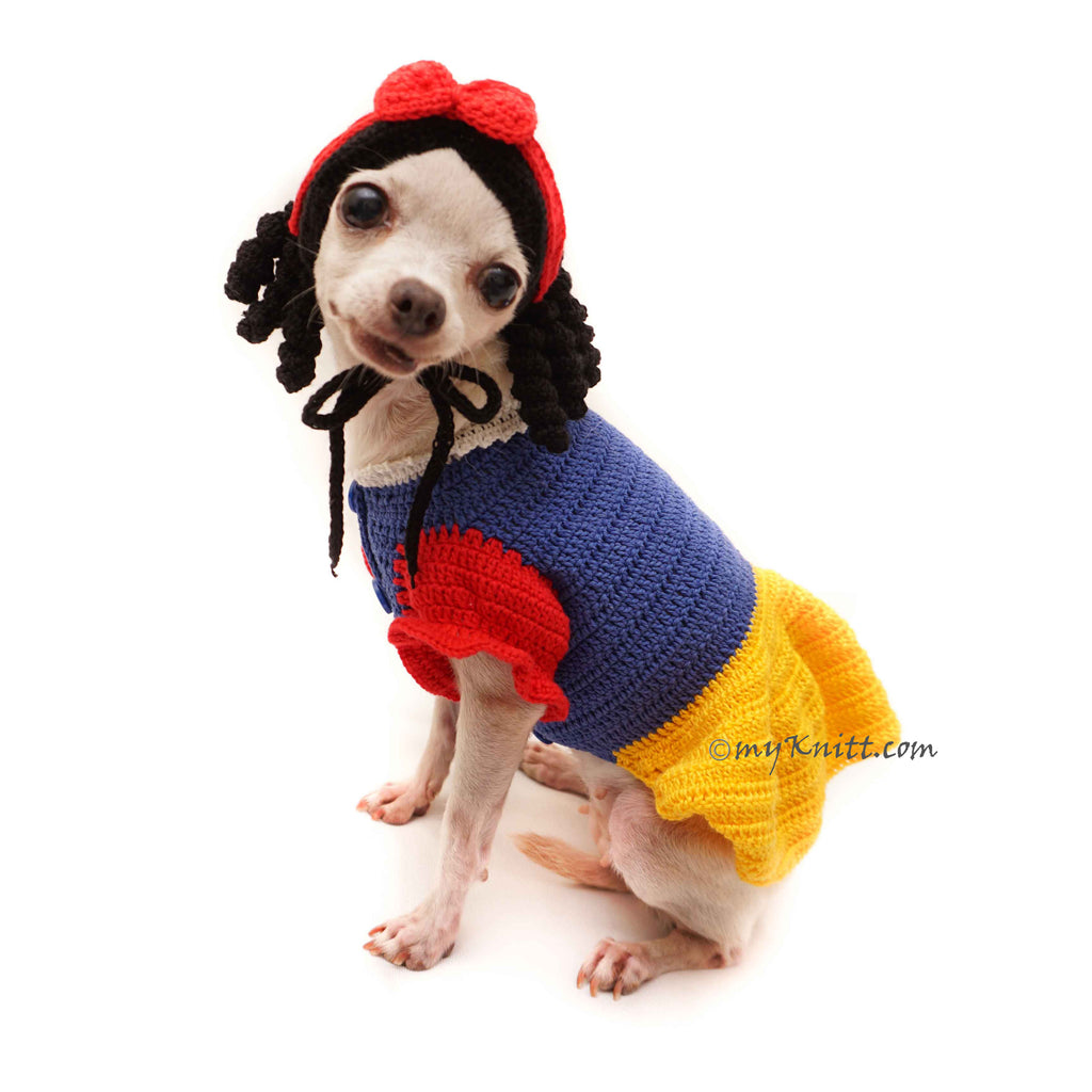 Snow White Dog Costume, Disney Dog Costumes, Crochet Dog Hat DF123
