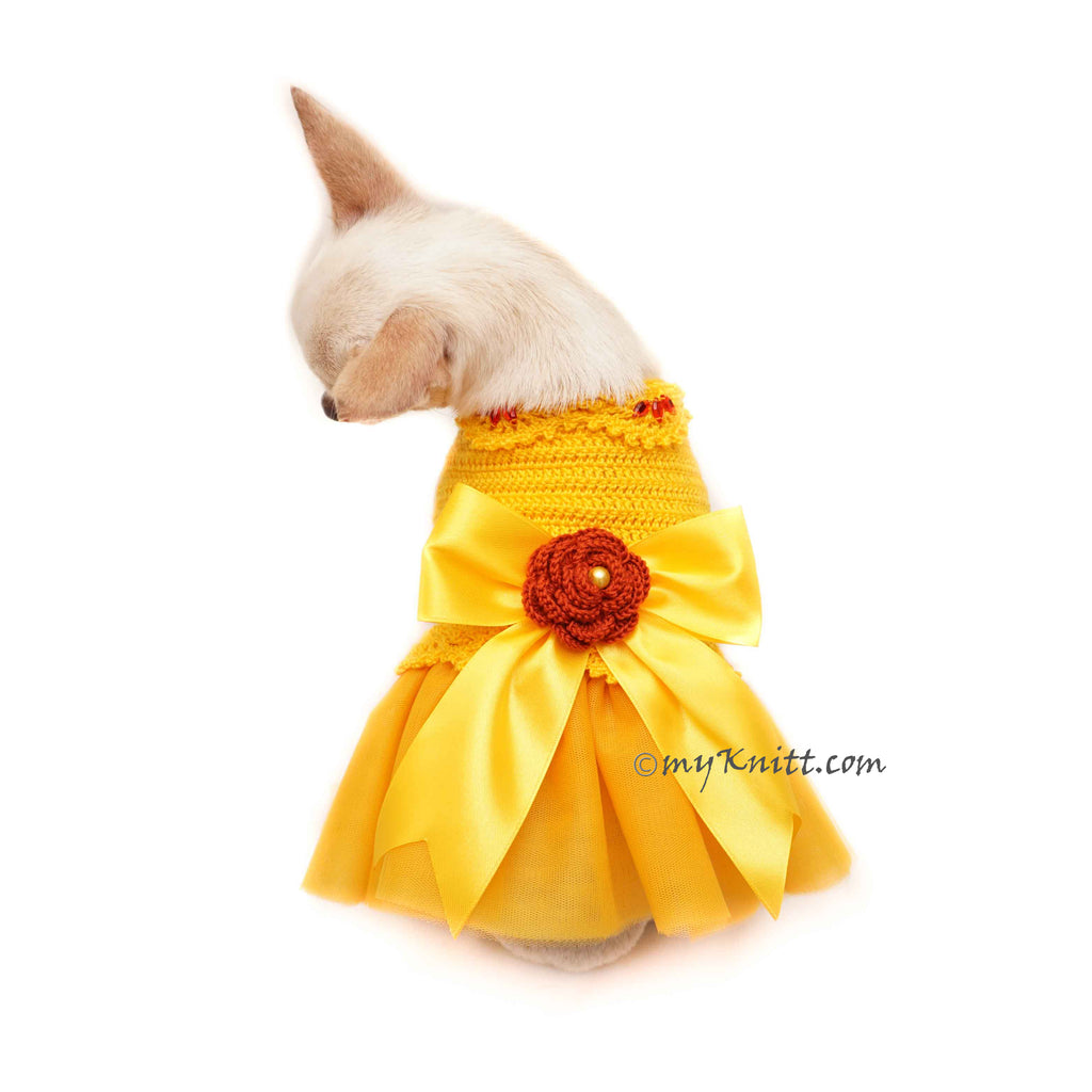 Yellow Dog Dress Wedding, Dog Flower Girl Dress, Personalized Dog Clothes DF125