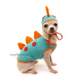 Dinosaur Dog Costume, Dinosaur Dog Hat, Funny Dog Clothes DF132 by Myknitt