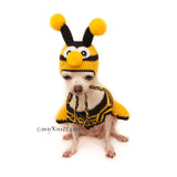 Bee Dog Hat Crochet, Chihuahua Clothes Personalized, Myknitt Designer Dog Clothes