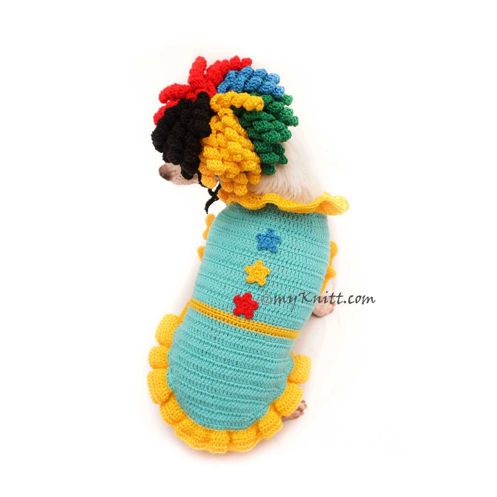 Clown Dog Costume, Dog Birthday Party Outfit, Birthday Party Dog Wig DF134