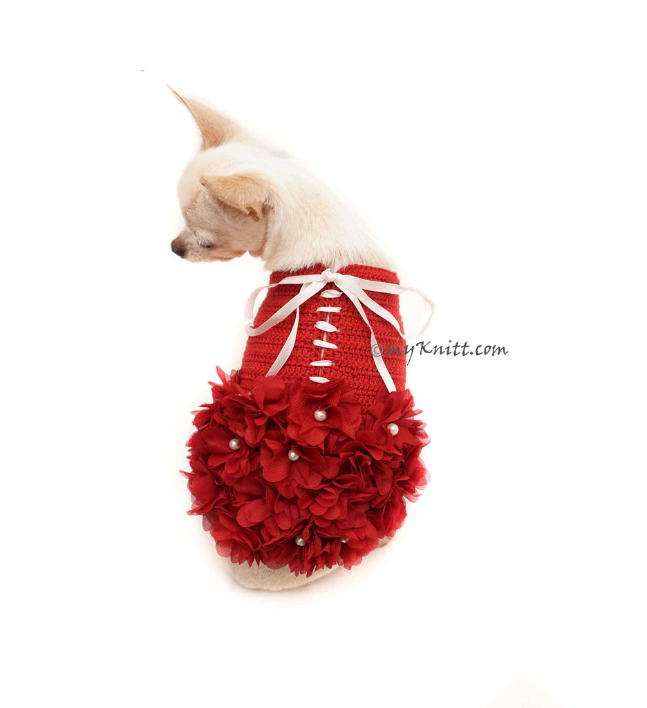 Maroon Dog Dress Flower with Pearls, Burgundy Dog Dress Wedding Crochet DF136