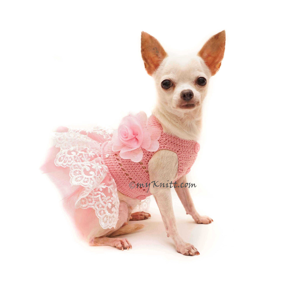 Pink Dog Tutu Dress, Crochet Dog Dress Wedding, Chihuahua Wedding Dress DF136