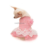 Pink Dog Tutu Wedding with Flower and Crystal by Myknitt