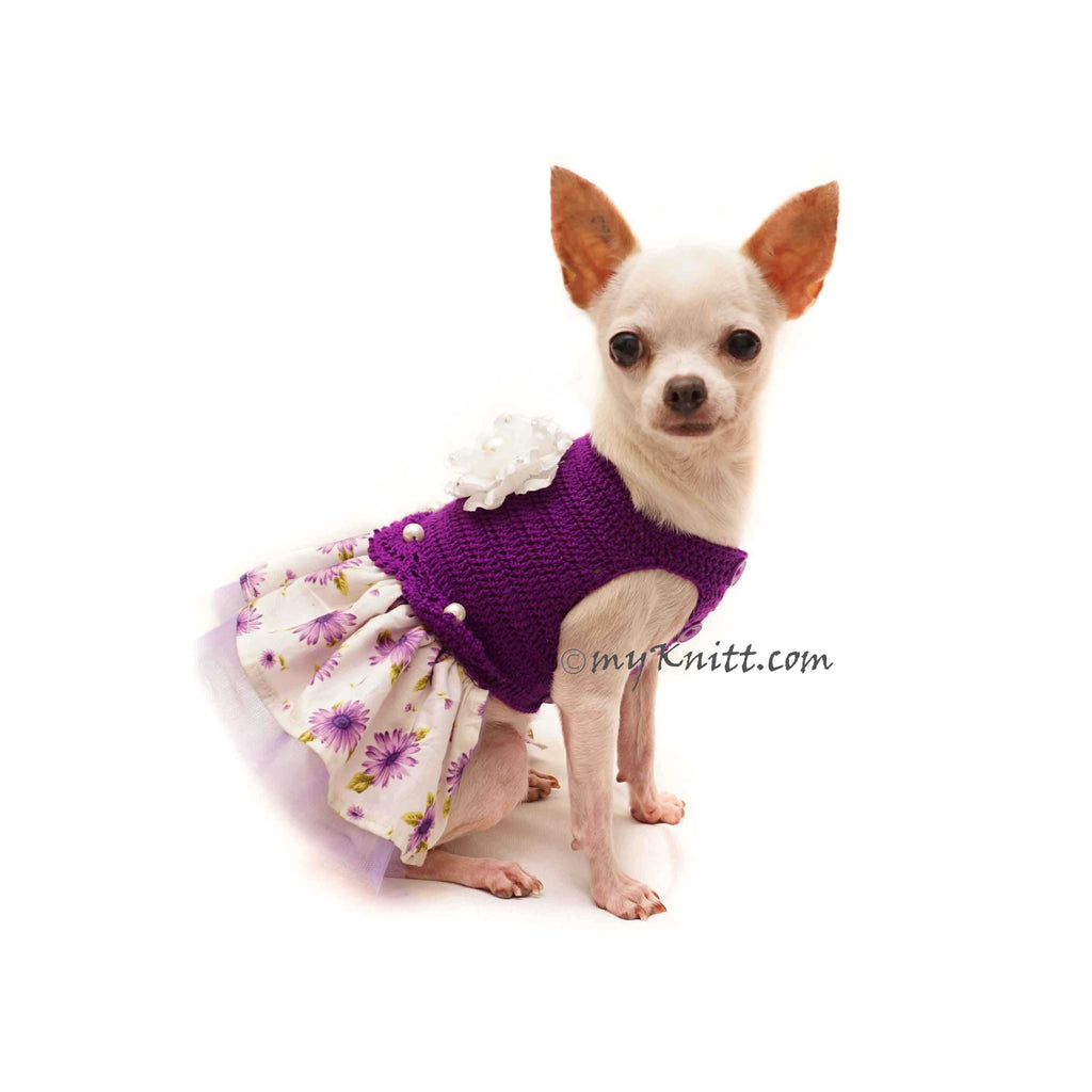 Purple Dog Dress with Flowers Pearls, Summer Chihuahua Dress Flowers Fabric DF138