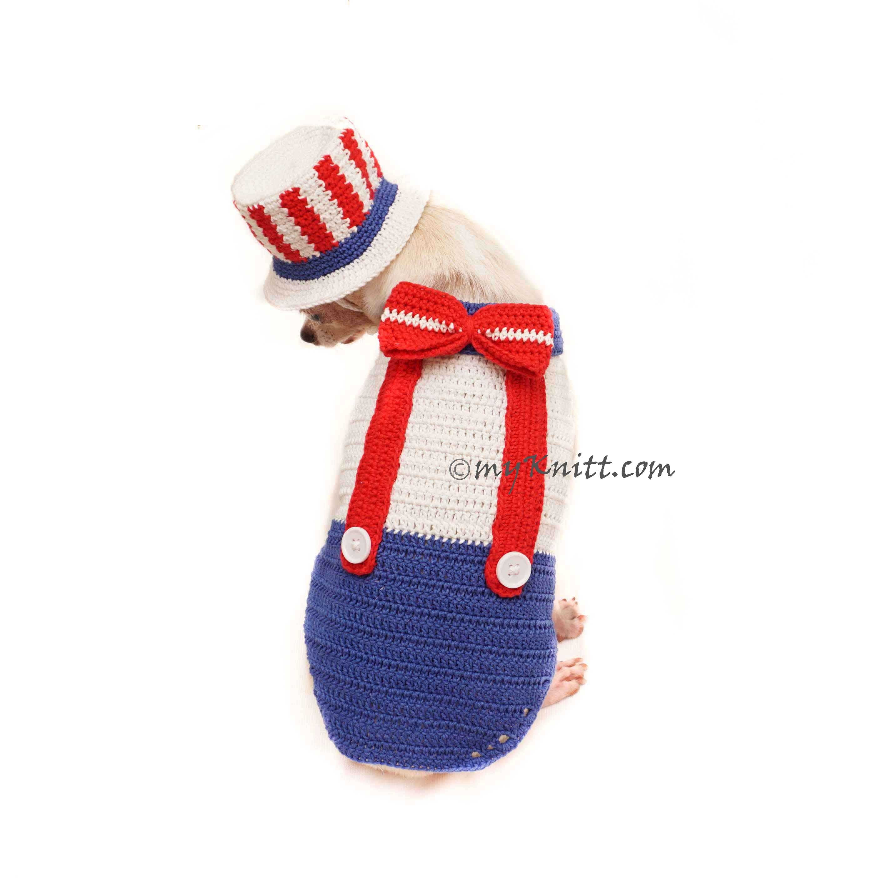 Uncle Sam Top Hat for Dog, 4th Of July Dog Clothes, USA Patriotic Dog Costume DF140 by Myknitt