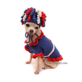 Big Kinky Curyl Dog Wigs Crochet in Red White and Blue Party Costume by Myknitt