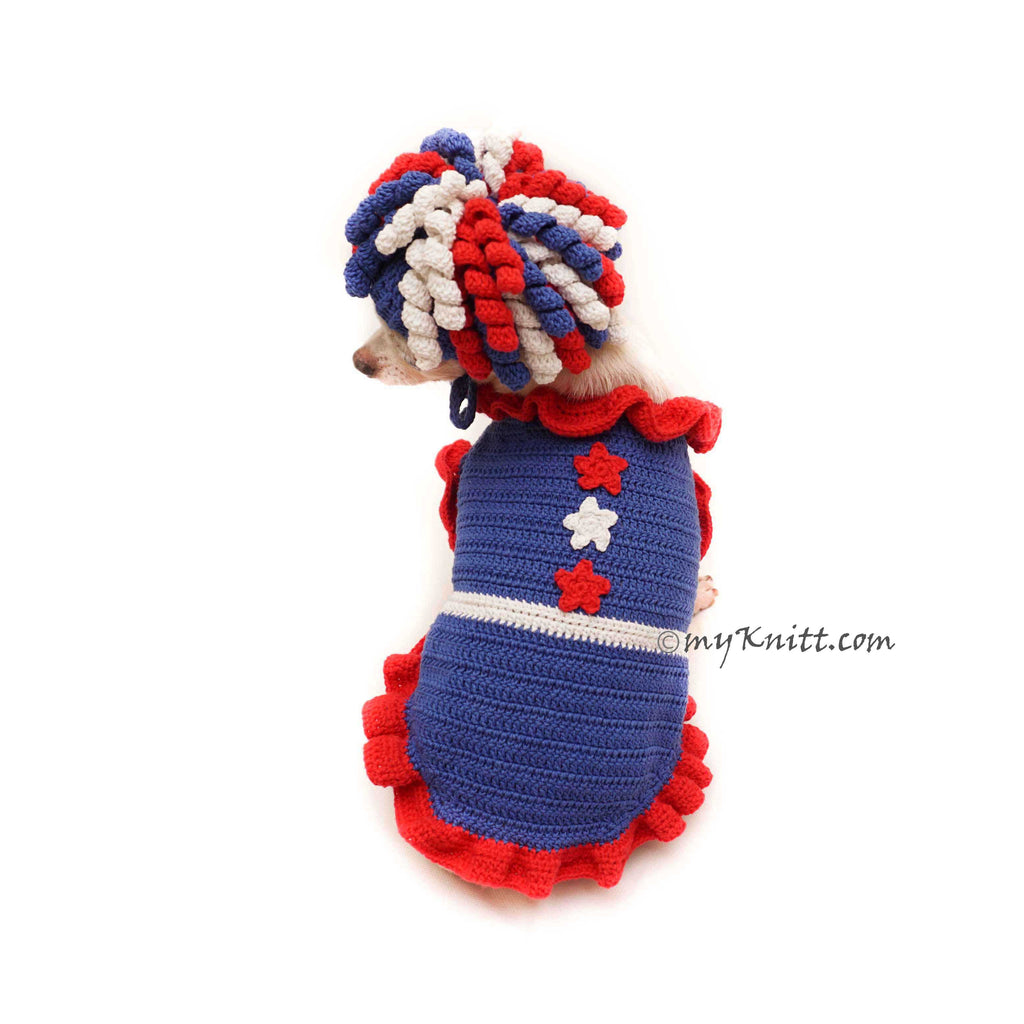 Fourth Of July Dog Costume, Red White and Blue Afro Dog Wigs Crochet DF141