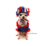 Unique Chihuahua Clothes for 4th of July Red White Blue Party by Myknitt