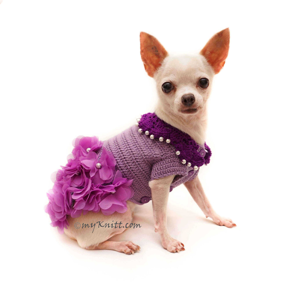 Purple Dog Dress Flower with Pearls, Chihuahua Dress Wedding Bridesmaid DF142