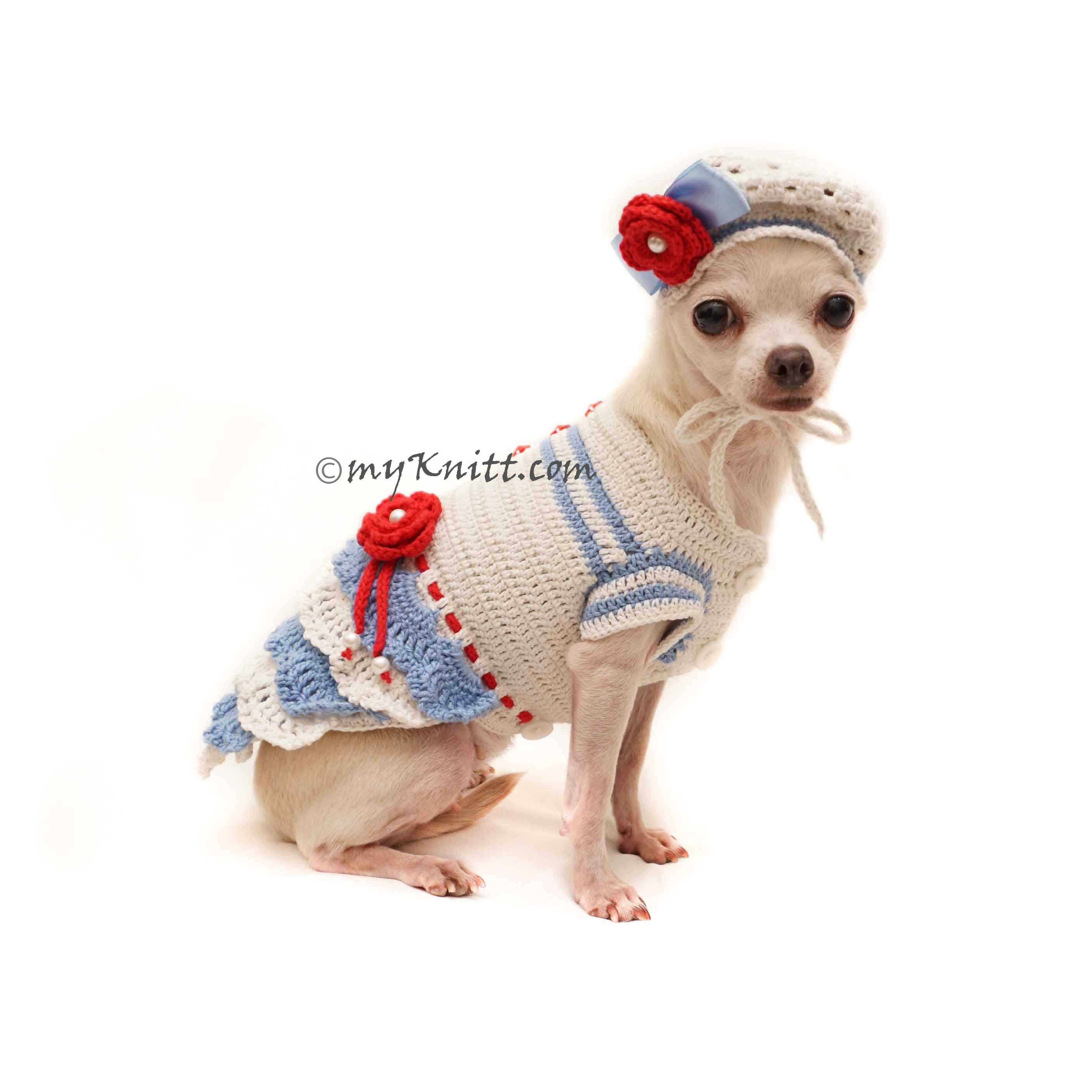 Summer Blue Dog Dress Crochet with Dog Hat Beret Df143 by Myknitt