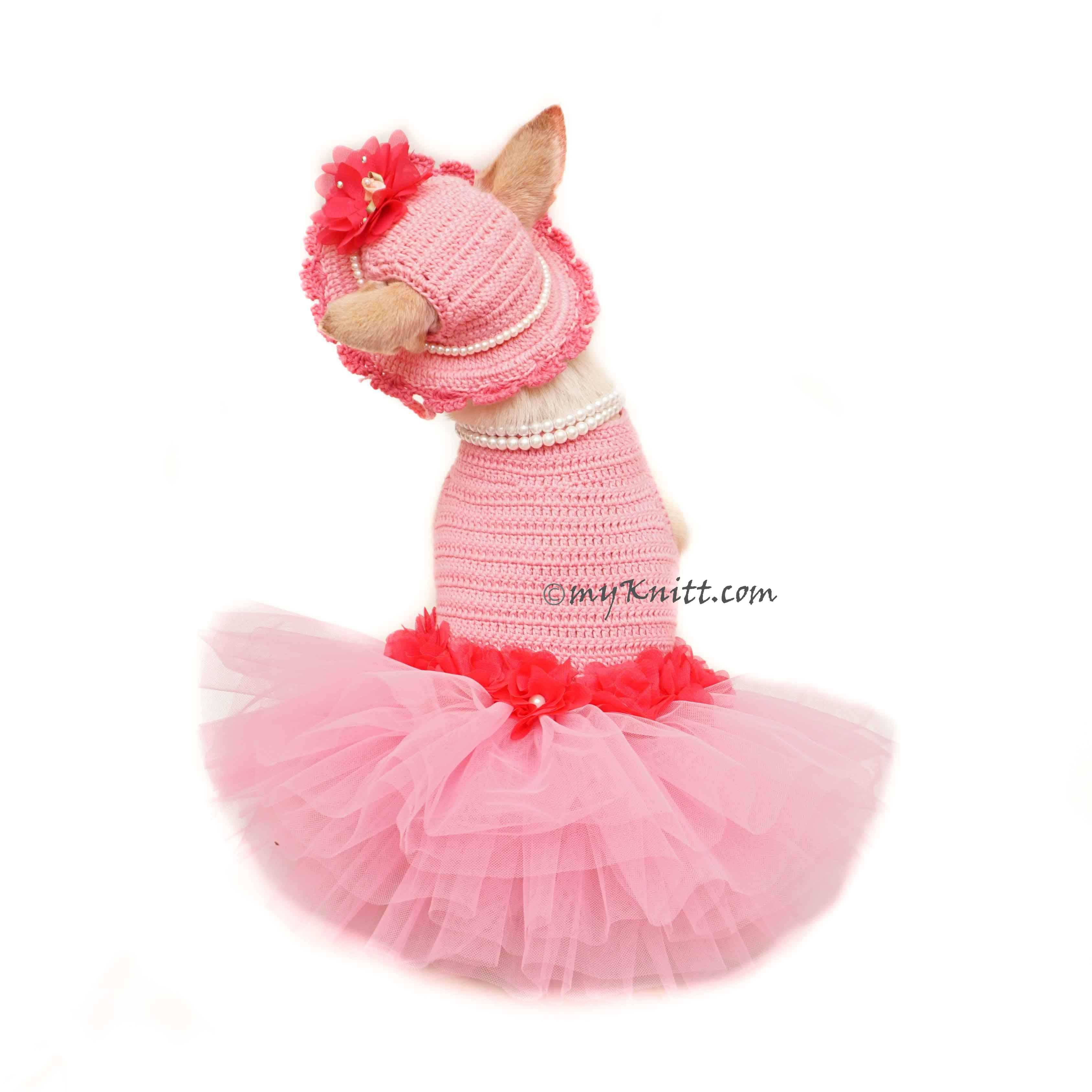 Lady Pink Chihuahua Dress with Chihuahua Dog Hat, Pink Dog Tutu DF144  by Myknitt