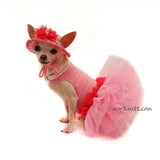 Pink Dog Tutu with Crochet Dog Hat , Unique Custom Dog Clothes by Myknitt
