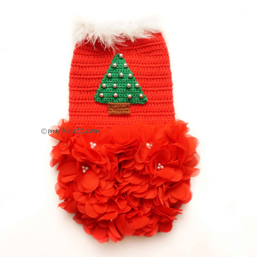Red Dog Dress Crochet With Christmas Tree Ornament DF145