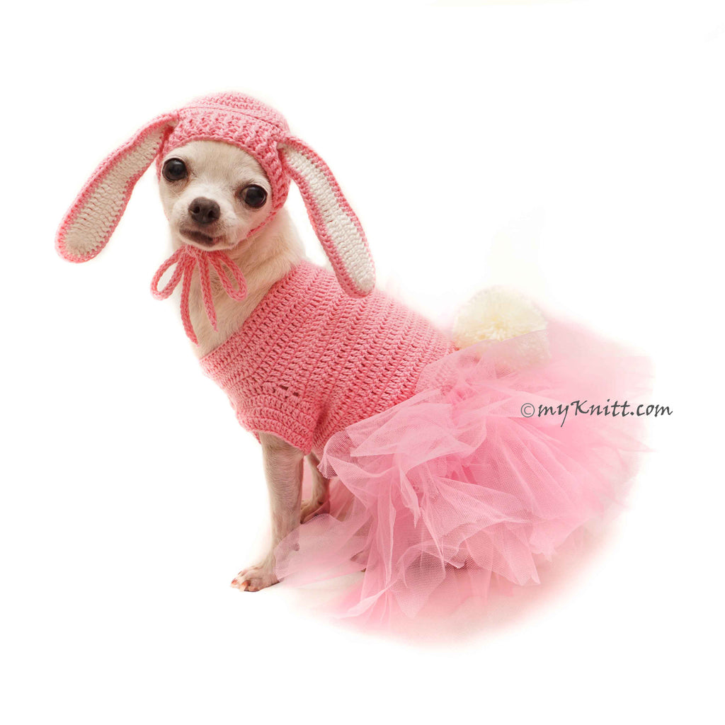 Pink Dog Tutu Dress Bunny Rabbit, Cute Pet Costume Rabbit Crochet DF147 Myknitt