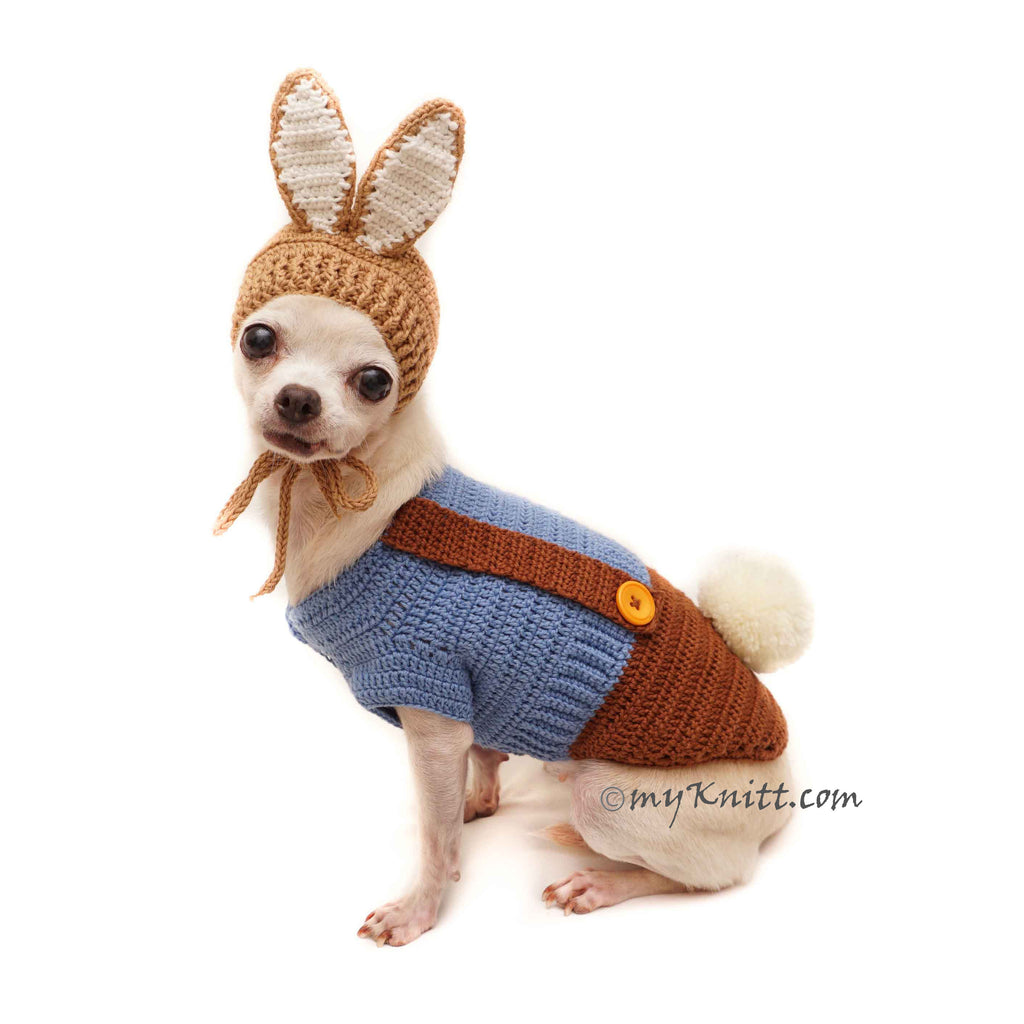 Peter Rabbit Pet Costume, Rabbit Bunny Dog Costume Dog Hat DF149 Myknitt