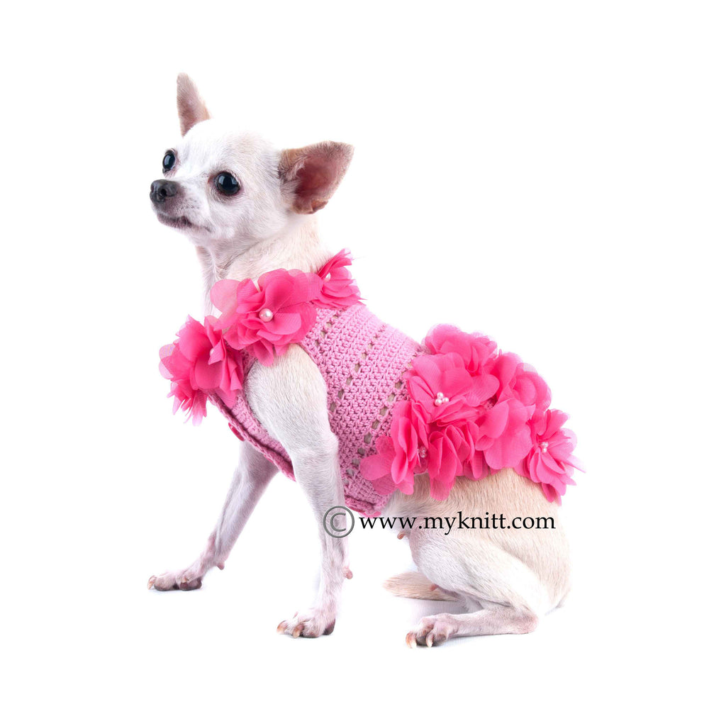 Pink Dog Clothes Hawaiian Pet Clothing Crochet Flower DF14
