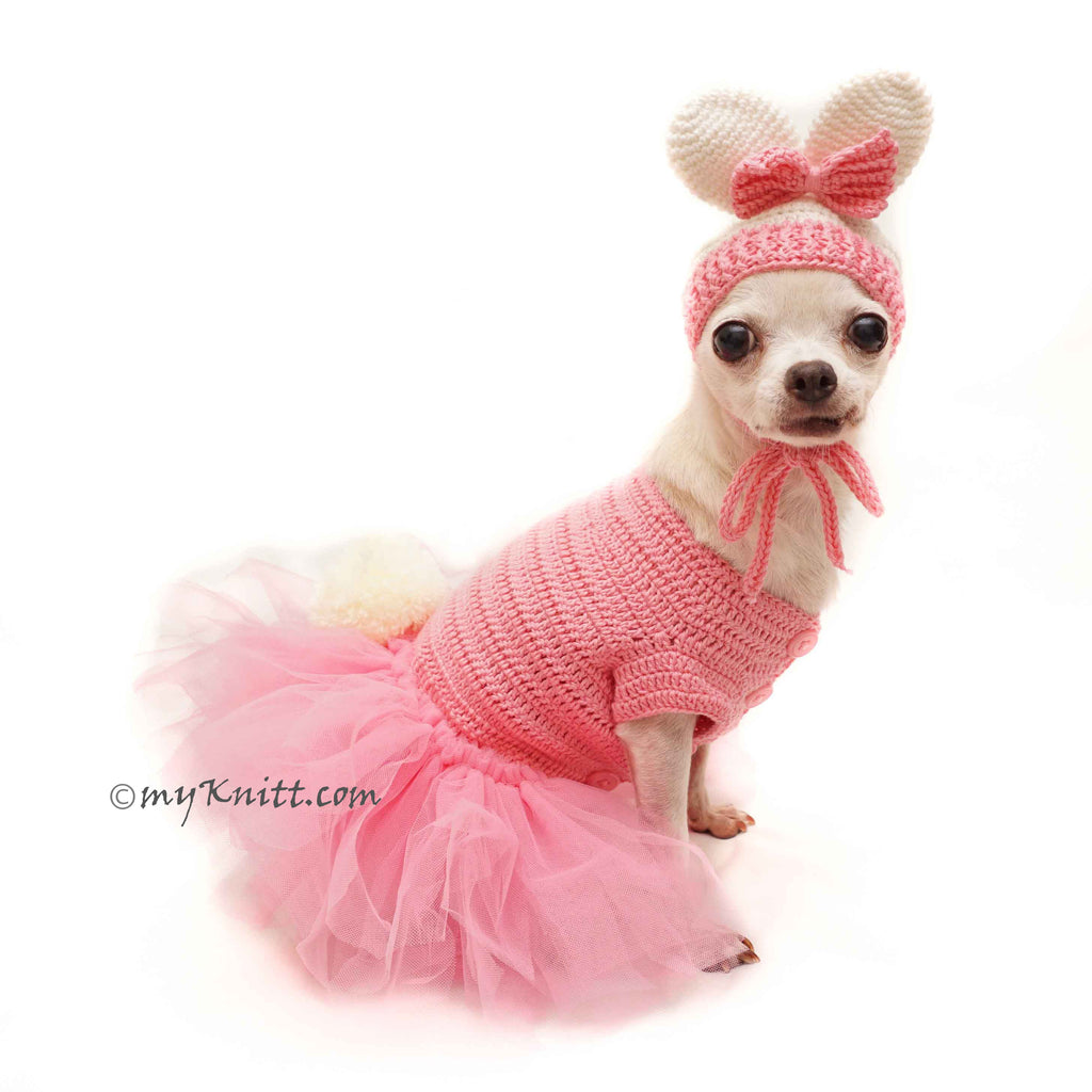 Pink Dog Tutu Bunny Pet Dress with Crochet Bunny Dog Hat DF150