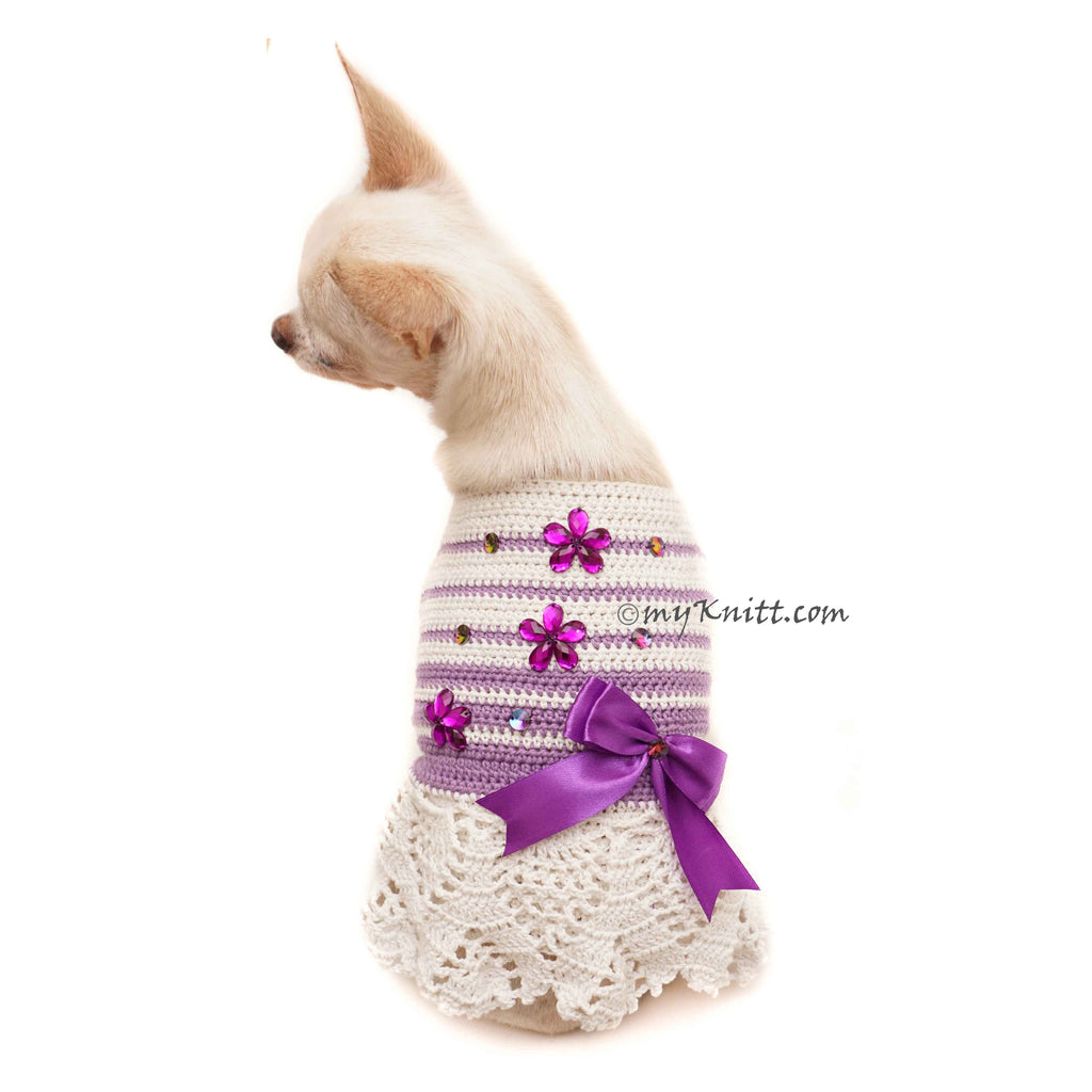 Purple Flower Ribbon Dog Dress Lace Crochet Striped DF151