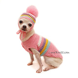 Pink Pom Pom Dog Sweater with Matching Pink Pom Pom Dog Hat Crochet DF153