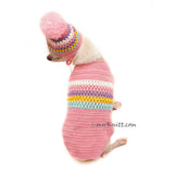 Baby Pink Pet Sweater Knit, pom pom dog hat knitting, Myknitt