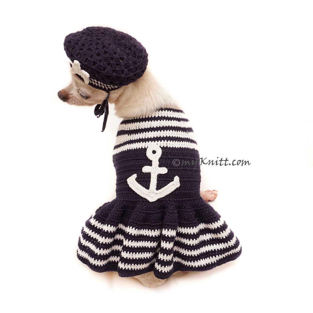 Marine Dog Dress Crochet, US Navy Dog Clothes, Navy Anchors Pet Dress DF154 Myknitt