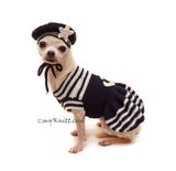 Anchors Navy Marine Costume for Pets with Marine Dog Hat by Myknitt