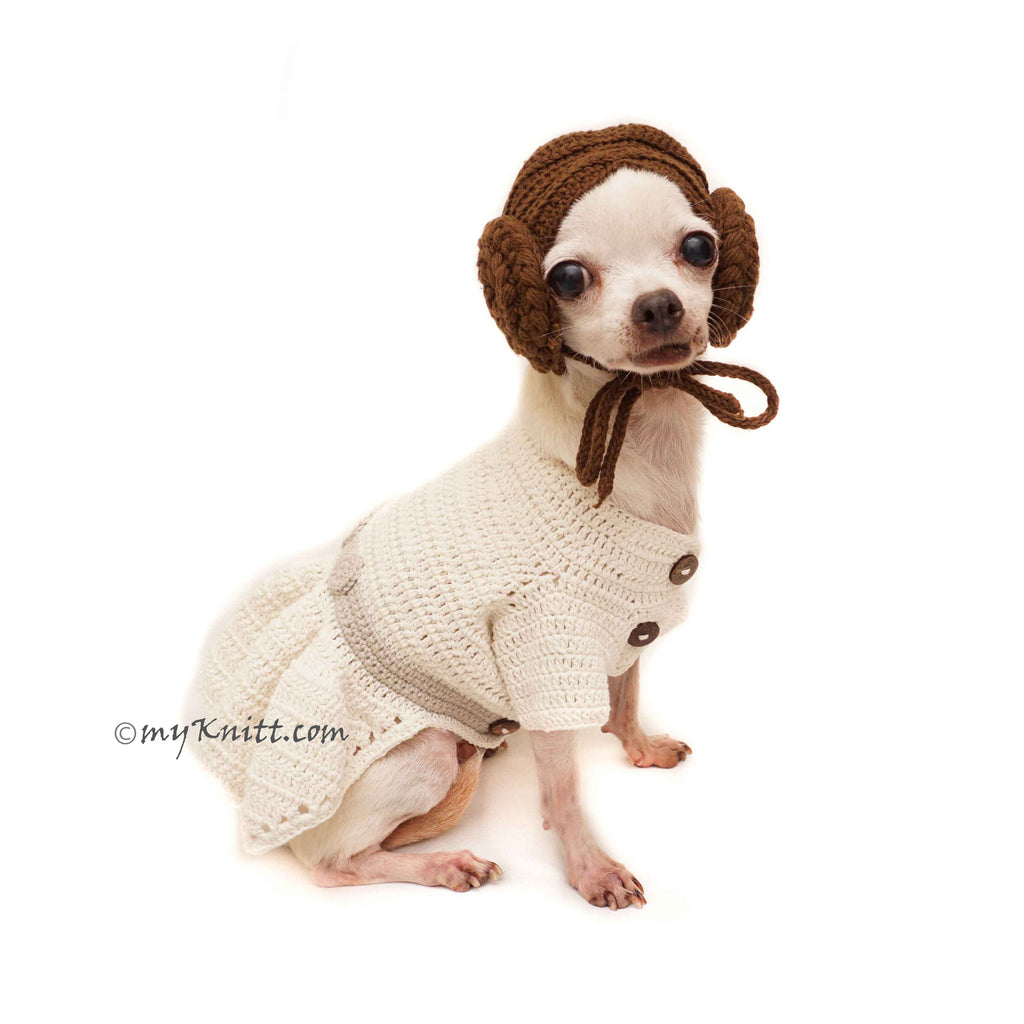 Princess Leia Dog Costume Crochet , Princess Leia Dog Hat Crochet DF155 Myknitt