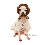 Princess Leia Dog Cosplay, Star Wars Dog Costume Crochet Myknitt