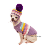 Pastel Purple Dog Sweater Pom Pom, Pom Pom Dog Hat Crochet DF156 by Myknitt