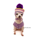 Pom Pom Dog Hat Crochet by Myknitt in Baby Purple Color