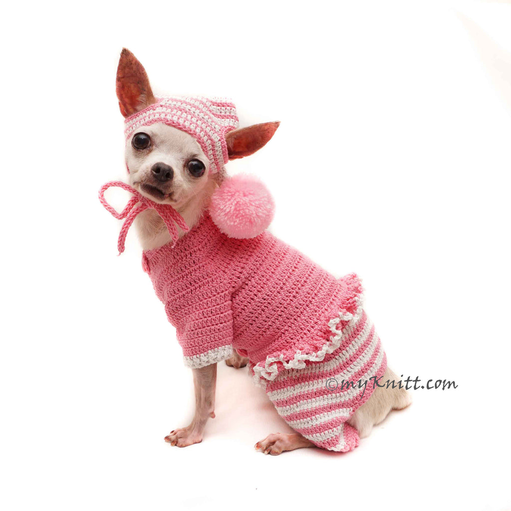 Pink Dog Pajamas with Pom Pom Dog Hat Crochet, Dog Pajamas Pink DF158 by Myknitt