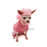 Pink Striped Dog Hat Crochet by Myknitt