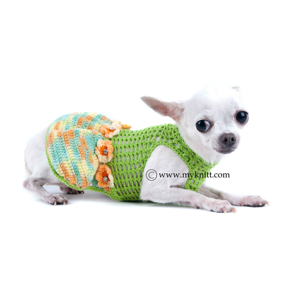 Net Crochet Chihuahua Clothes Ball Gown Dog Dress DF15