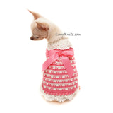 Vintage Pink Dog Dress Crochet with Victorian Edging DF160 by Myknitt