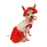 Summer Dog Dress Red Crochet Love Pattern with Matching Dog Sun Hat Df161 Myknitt