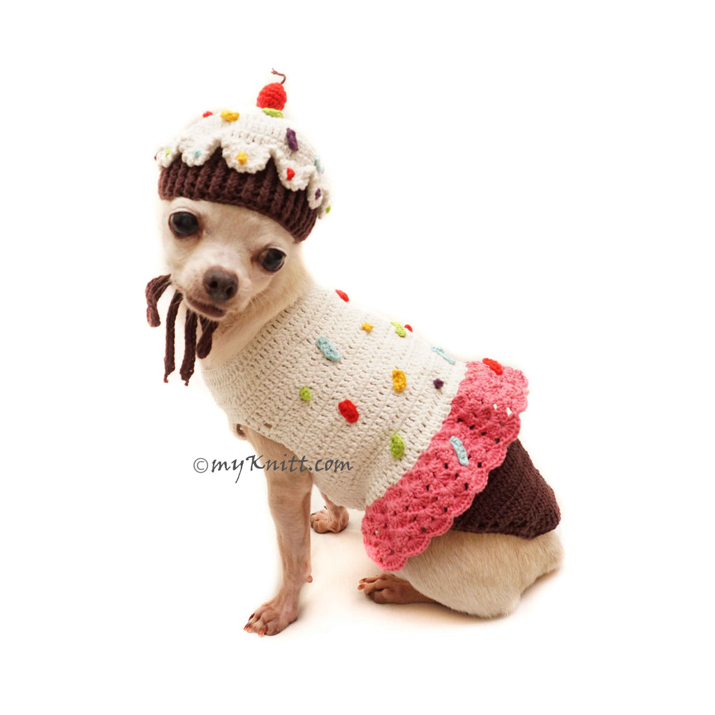 Cupcake Dog Costume Crochet, Birthday Cake Dog Clothes Funny DF162 by Myknitt