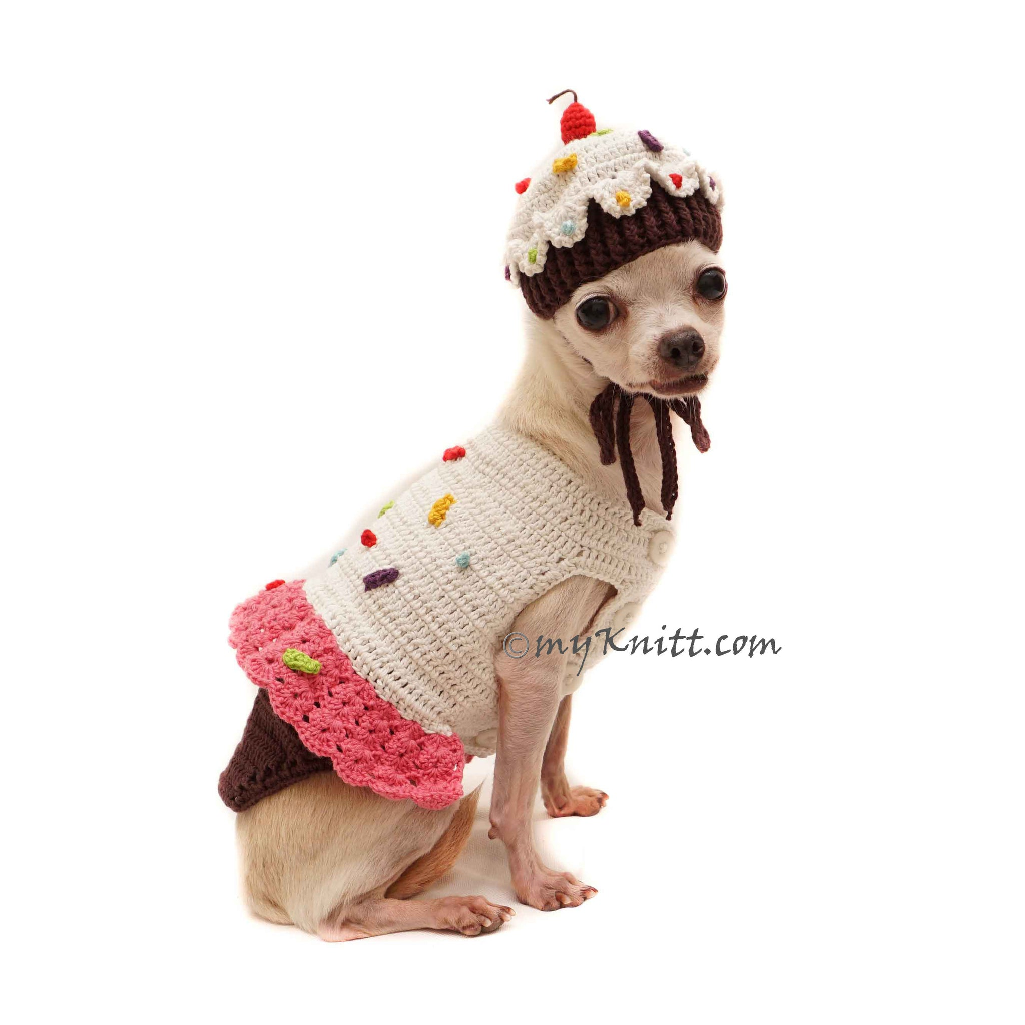 Free Shipping Cupcake Dog Hat Crochet Chihuahua Clothes DF162 by Myknitt Birthday Pet Costume Cupcake Dog Costume Crochet