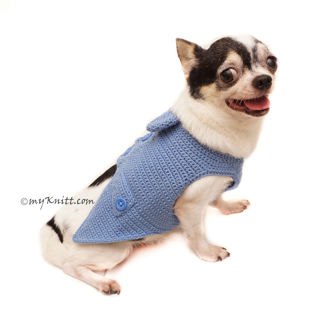 Blue Casual Dog Tuxedo, Crochet Dog Clothes Custom DF163 by Myknitt