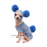 Blue Pom Pom Dog Sweater with Matching Pom Pom Dog Hat DF164 Myknitt